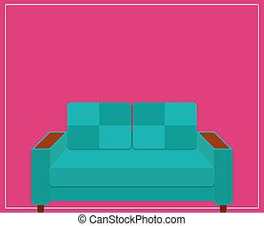 rosa, icona, sofà blu, illustration., fondo.