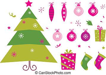 rosa, icono, verde, retro, navidad