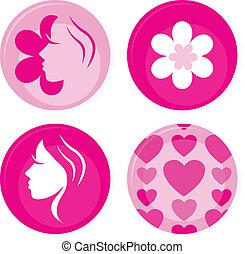 rosa, iconos, aislado, vector, hembra, blanco, o, insignias