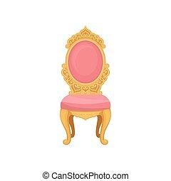 rosa, illustration., fondo., vector, silla, blanco