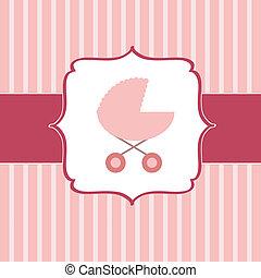 rosa, illustrazione, neonato, carrello, vettore, ragazza bambino