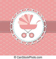 rosa, ilustración, recién nacido, carruaje, vector, nena