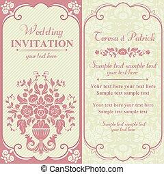 rosa, inbjudan, barock, beige, bröllop