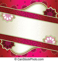 rosa, inspiriert, indische , banner, mehndi