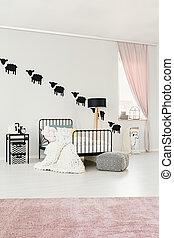 rosa, interno, spazioso, camera letto