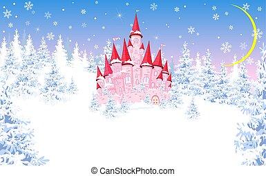 rosa, inverno, 1, foresta, fondo, castello