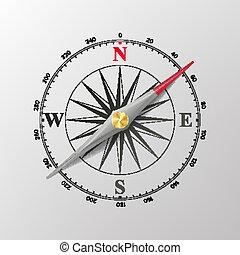 rosa, isolado, ilustração, vector., compasso, vento