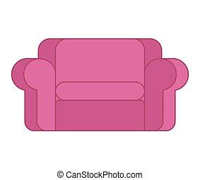 rosa, isolated., sofa, couch, groß, hintergrund, weißes, weich