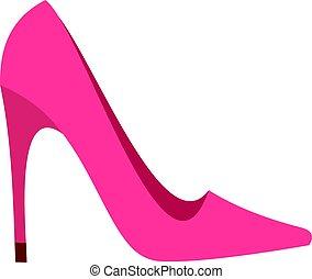 rosa, isolato, alto, scarpa, tallone, icona