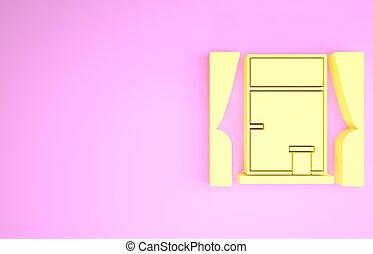 rosa, isolato, fondo., icona, minimalismo, 3d, illustrazione, render, tenda, giallo, stanza, finestra, concept.