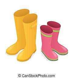 rosa, isometrico, isolato, stivali, gomma, fondo., giallo, bianco