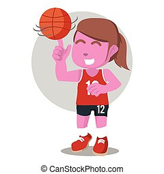rosa, jugador de baloncesto, girar, pelota, hembra