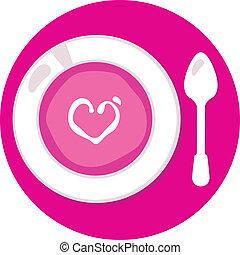 rosa, kärlek, valentinkort, isolerat, soppa, cirkel, vit