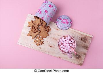 rosa, karamell, amerikan, vinter, bakgrund