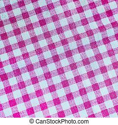 rosa, kariert, stoff, tischtuch