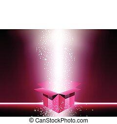 rosa, kasten, geschenk, stars.