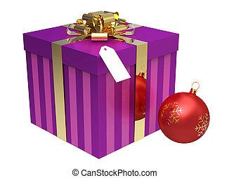 rosa, kasten, kugel, geschenk, freigestellt, weißes weihnachten