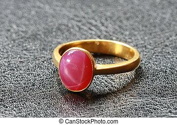 rosa, kiesel, ring, gold