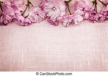 rosa, kirschen, umrandungen, blüten, leinen