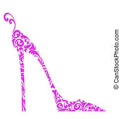 rosa, klacka, hög, sko, chic, retro