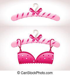 rosa, kleiderbügel, brassière, hanger.