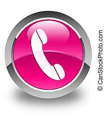 rosa, knapp, ringa, glatt, runda, ikon