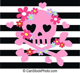 rosa, knochen, blumen, scull