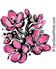 rosa, knoppar, skiss, fjäder, tre, färger