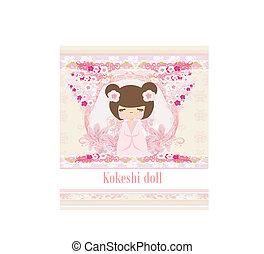 rosa,  kokeshi, Plano de fondo, muñeca