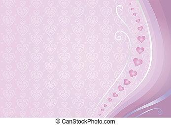 rosa, kort, bakgrund, valentinkort