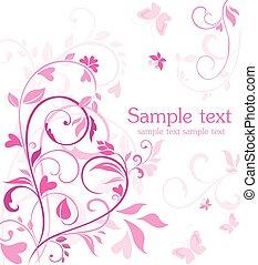rosa, kort, valentinbrev