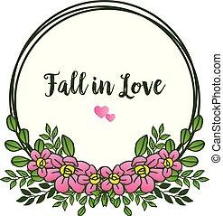 rosa, kranz, rahmen, love., gruß, vektor, herbst, umrandungen, schöne , karte