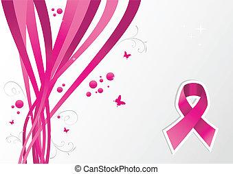 rosa, krebs, bewusstsein, geschenkband, brust