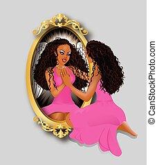 rosa, kvinna, reflexion