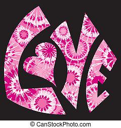 rosa, länk, symbol, kärlek, färgat