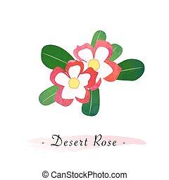 rosa, lírio impala, vetorial, deserto, aquarela, textura, ...