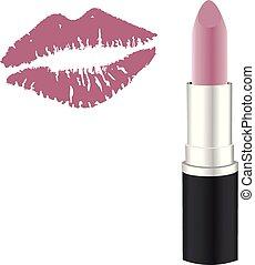 rosa, labbro, rossetto