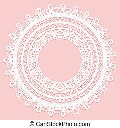 rosa, laccio, cornice, fondo., delicato, rotondo, doily.