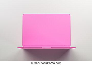 rosa, laptop, concetto, luce, onepiece, materiale, fondo., singolo, astratto, minimo