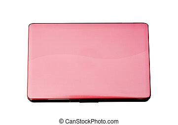 rosa, laptop, sfondo bianco
