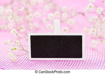 rosa, lavagna, segno, fiori,  copy-space,  closeup, fondo, vuoto, bianco