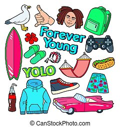 rosa, lebensstil, brandung, gekritzel, schnell, essen., vektor, abbildung, auto, teenager