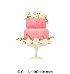 rosa, leg., two-tier, illustrazione, fondo., vettore, stare in piedi, torta, bianco