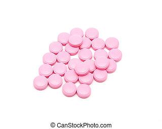 rosa, lertavlor, på, a, vit fond