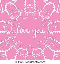 rosa, letras, amor, usted, con, garabato, plano de fondo