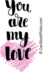 rosa, letras, mano, dibujado, corazón