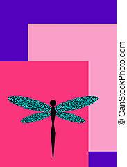 rosa, libélula, espacie ilustración, fondo negro, violeta, ...