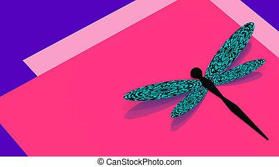 rosa, libélula, espacie ilustración, plano de fondo, violeta...