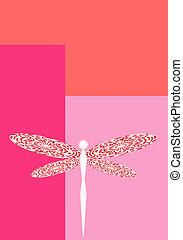 rosa, libélula, vertical, espacie ilustración, plano de ...