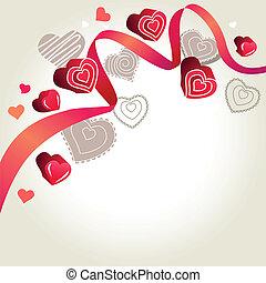 rosa, licht, grau, hintergrund, herzen, kontur, geschenkband